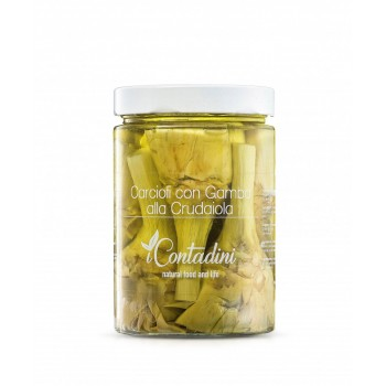 """Carciofi Con Gambo Alla Crudaiola 550 Gr. Sie sind vom Typ """"violett"""". Der Anbau erfolgt ab Oktober, die Ernte beginnt im März.Die Artischocke wird dann sofort in natives Olivenöl extra gegeben"""