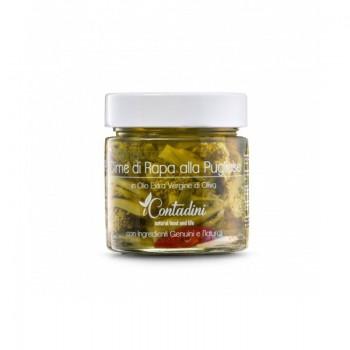 Cime Di Rapa Alla Pugliese (Stängelkohl) 230 Gr. Nach der Ernte werden sie von Hand gewaschen, um die härtesten Teile zu entfernen. Sie werden blanchiert, gewürzt und in natives Olivenöl extra gegeben.