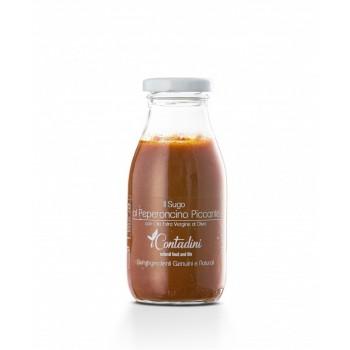 Il Sugo - Al Peperoncino Piccante 250g Eine Creme aus frischen Tomaten, die auf unseren Feldern angebaut werden. Wir wählen die schönsten Zwiebeln und den besten würzigen Chili. Um eine Sauce mit einem starken und unverwechselbaren Geschmack zu machen.