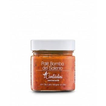 Patè Bomba Del Salento 230g Es ist eine Paprika-Pastete,  Sie werden mit mediterranen Gewürzen zerkleinert und in natives Olivenöl extra eingelegt.