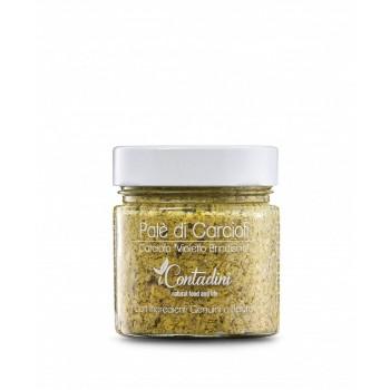 Artischockenpatè 230g Die Artischocke wird innerhalb von 24 Stunden manuell und fein geerntet und verarbeitet. Die Pastete wird einfach aus Artischocken, Olivenöl extra vergine und natürlichen Zutaten hergestellt.