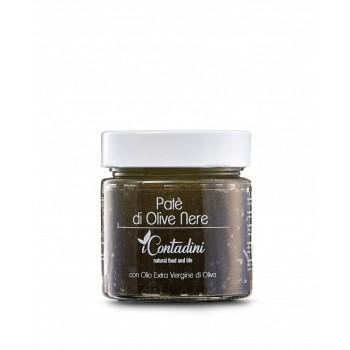 Schwarze Oliven Patè 230g  Die Oliven werden verarbeitet, um das Fruchtfleisch zu extrahieren, aus dem diese Pastete besteht, die aus beiden Sorten besteht, um ein perfektes Gleichgewicht zwischen Geschmack und Farbe zu erzielen.