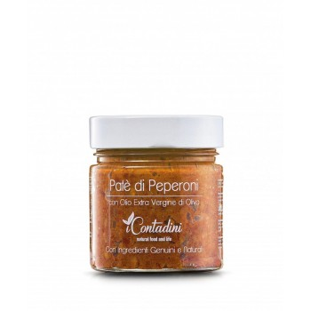 Paprika Pate´230 Gr. Auf dem offenen Feld werden süße rote Paprikaschoten angebaut,Schließlich noch einmal gewaschen und ausgewählt, schließlich mit anderem mediterranen Gemüse und Gewürzen zerkleinert, um eine köstliche Pastete zu erhalten.