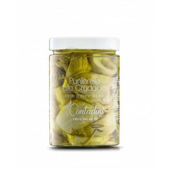 """Puntarelle Alla Crudaiola 520 Gr.  Herzstück des CATALONIAN CHICORY. Unsere Frauen entlauben die Pflanze und schneiden die """"Spitzen"""" manuell, sie werden in Öl aufgenommen und konserviert, ohne Aromen oder Gewürze hinzuzufügen."""