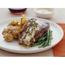 Rumpsteack vom Grill in grüner Pfeffersauce  mit Beilage (Rosmarin Kartoffeln und Gemüsen)
